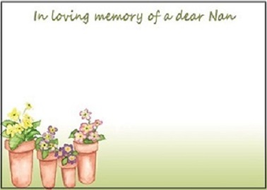 Memorial Card for Funeral - for Nan (LF28C)
